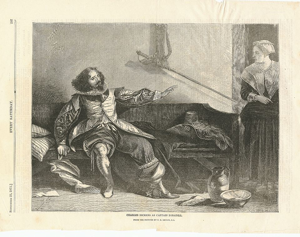 Charles Dickens, as Captain Bobadill from a picture by C.R. Leslie, R.A