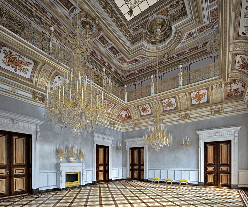 An architect's visualisation of the restored Small Ballroom in the Georgenbau in Dresden's Residential Palace complex