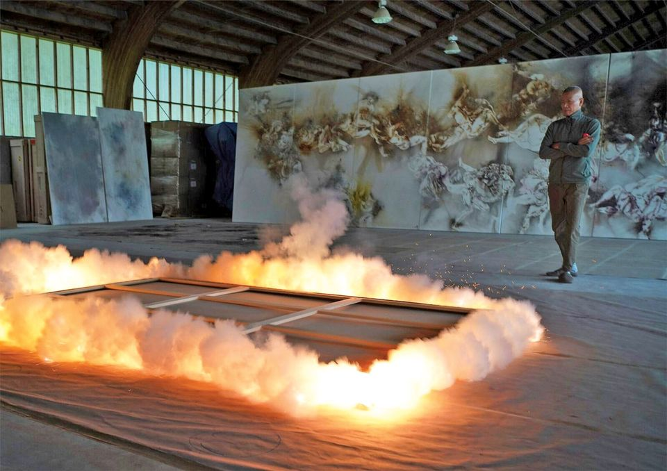 Cai Guo-Qiang overseeing the iIgnition of his gunpowder painting Study of Birds (2018). Photo by Tatsumi Masatoshi; courtesy of Cai Studio