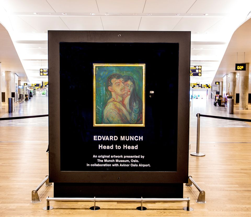 Edvard Munch's painting Head to Head (1905) will be on view in Oslo airport until January 2019