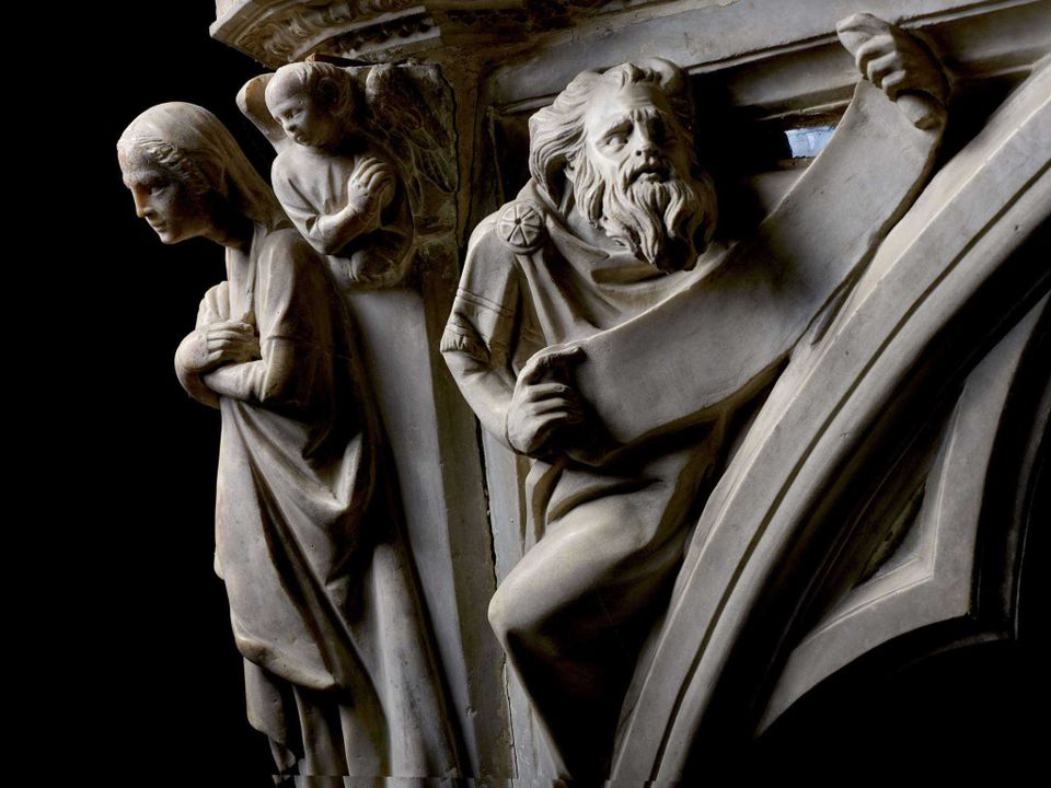 Detail of the pulpit to be restored in Pistoia, Italy