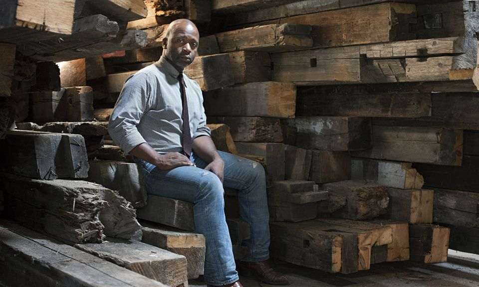 Theaster Gates in 2014 with reclaimed wood