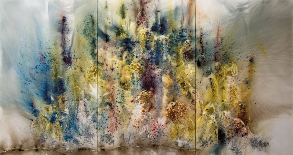 Cai Guo-Qiang's Mountain in Heat (2016), a work in gunpowder on canvas