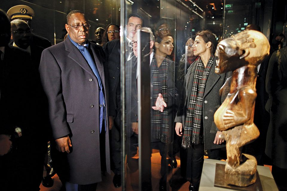 The Senegalese president, Macky Sall, at the Quai Branly museum in 2016. The country has said it wants the return of all objects from Senegal in French museum