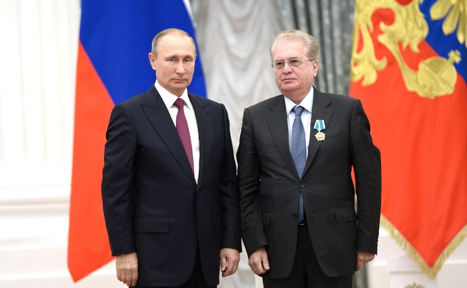 Mikhail Piotrovsky, the director of the State Hermitage Museum, is awarded the Order of Friendship by President Putin in 2016