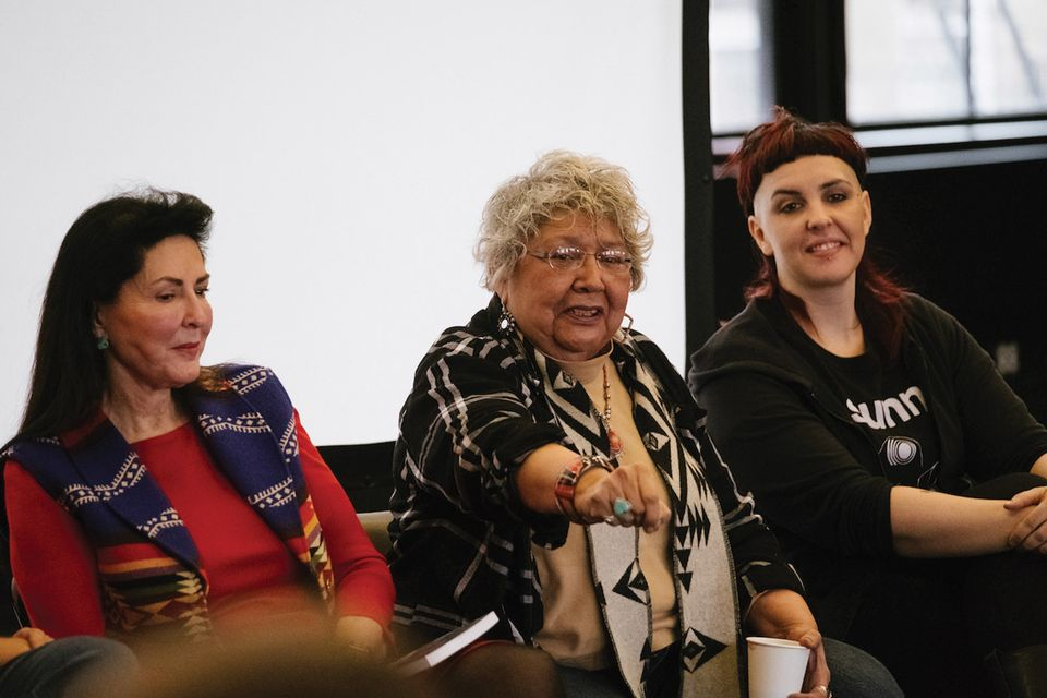 Muriel Miguel (center) the founding director of the Spiderwoman Theater at the First Nations Dialogues last January