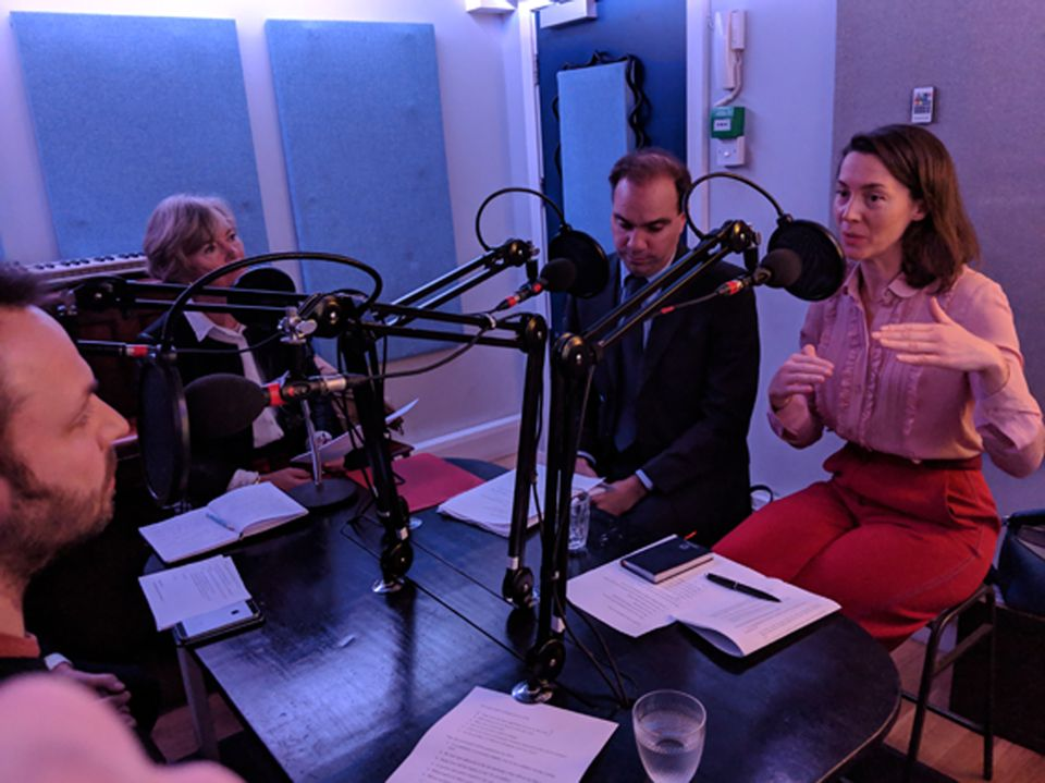 From left: podcast host Ben Luke; art market expert Georgina Adam; Francis Outred, Christie's head of post war and contemporary art; and Victoria Siddall, the director of Frieze fairs