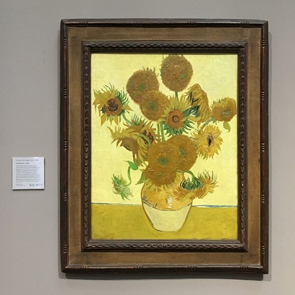Van Gogh, Sunflowers, August 1888, at the National Gallery, London
