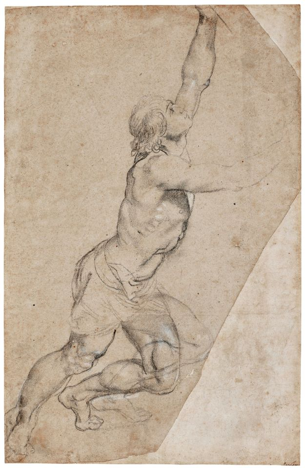 Peter Paul Rubens, Nude Study of a Young Man With Raised Arms