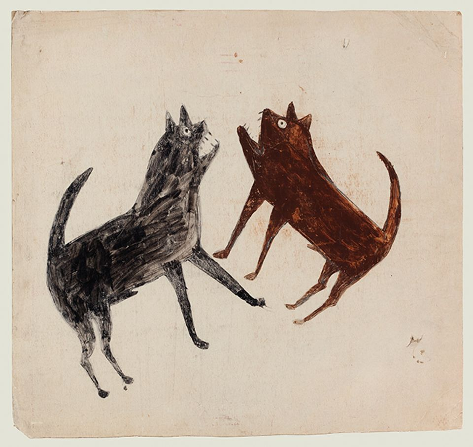 Bill Traylor's Fighting Dogs (1939-42). Important Outsider Art, Christie's, New York, 18 January. Estimate $50,000-$80,000: This lively tempera and graphite drawing of feral dogs bears the original label for Charles Shannon, the New South artist who was Bill Traylor's long-time patron. Traylor was born a slave in Alabama and his work typically depicts African-American life in the southern US in the early 20th century, such as Man with a Plow (around 1939-1942), which made a record $365,000 (est $125,000-$175,000) at Sotheby's New York in 2014. Fighting Dogs is one of 60 lots in the sale from the collection of the late vernacular art collector William Louis-Dreyfus, and its sale will partially benefit the non-profit organisation Harlem Children's Zone as part of an ongoing partnership between the late collector's foundation and Christie's.