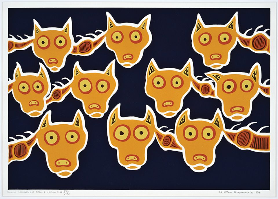 The Anishinaabe/Ojibway artist Allen (Ahmoo) Angeconeb's silkscreen on paper work Wolves Looking Out of Den (1984)