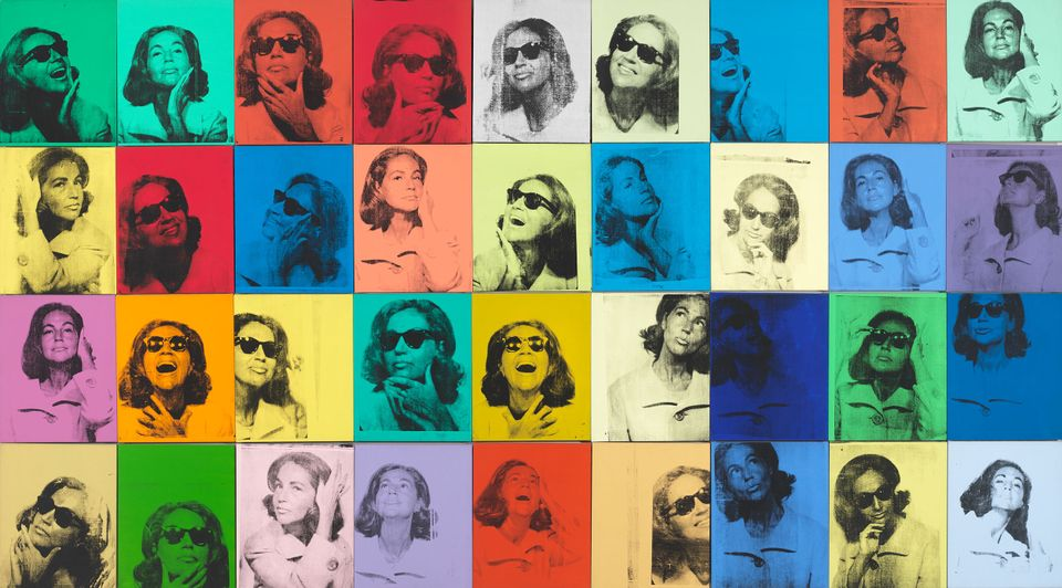 Andy Warhol (1928–1987), Ethel Scull 36 Times (1963) Silkscreen ink and acrylic on linen, thirty-six panels: 80 × 144 in. (203.2 × 365.8 cm) overall.
