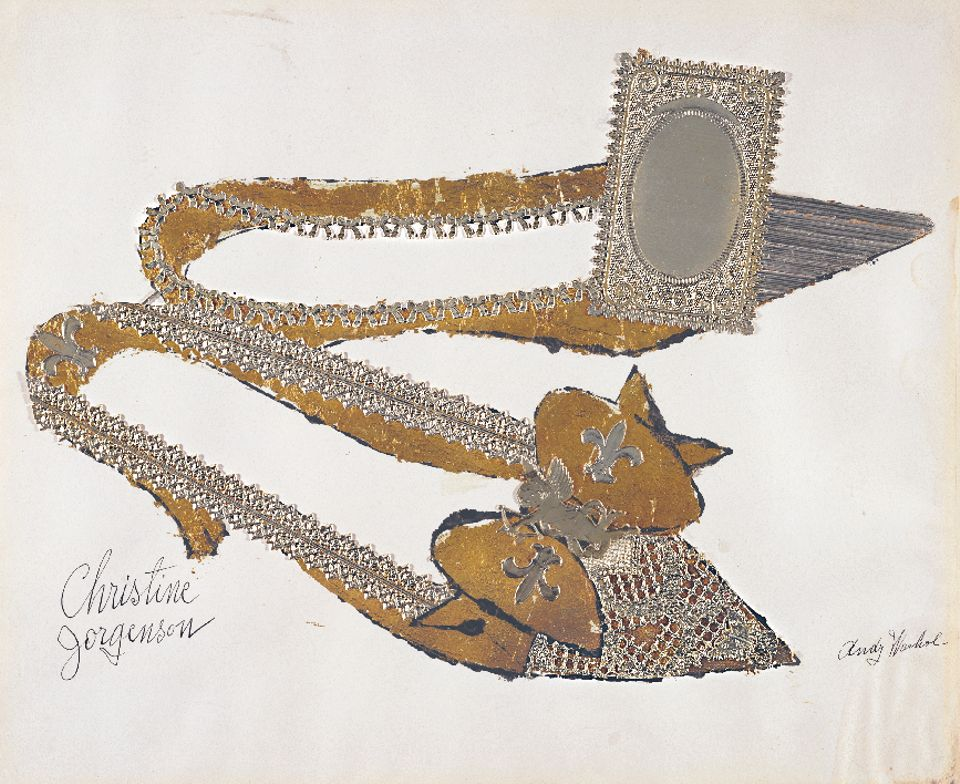 Andy Warhol (1928–1987), Christine Jorgenson, 1956. Collaged metal leaf and embossed foil with ink on paper, 13 x 16 in. (32.9 x 40.7 cm).