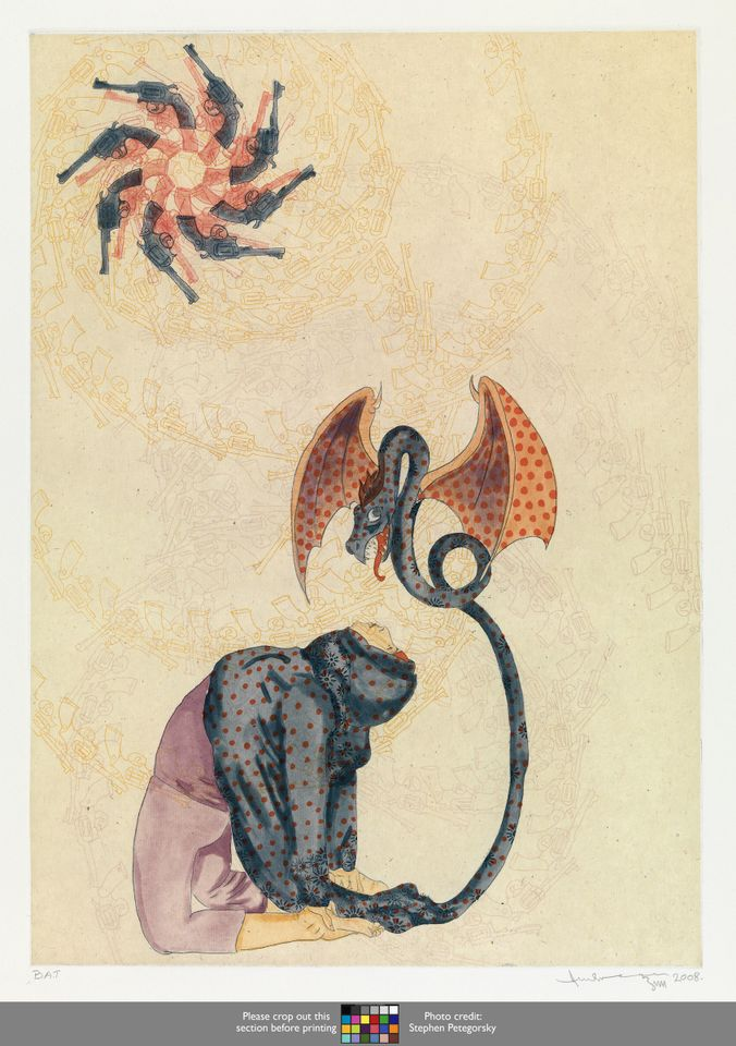 """Ambreen Butt, Untitled (Woman/Dragon) (from the series """"Daughters of the East""""), 2008; Etching, aquatint, spit-bite aquatint, drypoint, and hand coloring on paper, 25 x 19 in.;"""