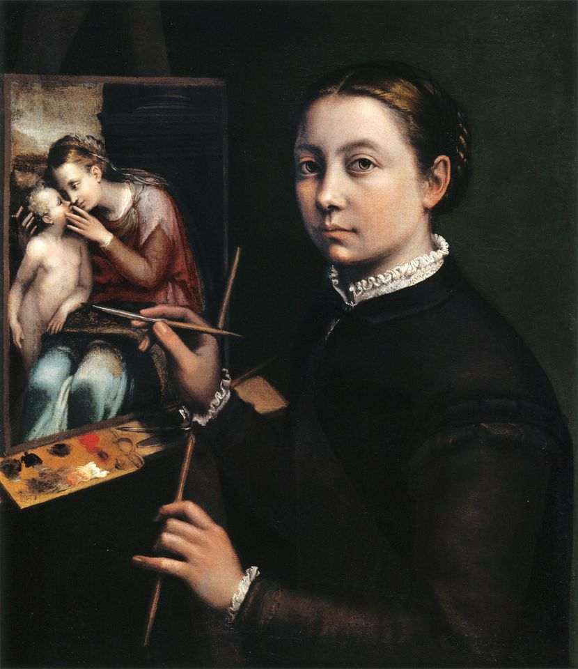 Sofonisba Anguissola's Self-portrait at the Easel Painting a Devotional Panel (1556)