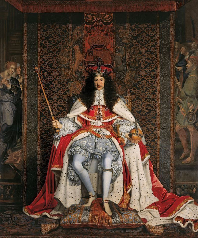 Charles II, in a portrait (around 1676) by John Michael Wright