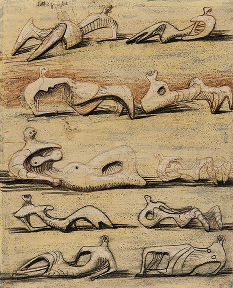 "Henry Moore, Reclining Figures (1948-50). American & European Works of Art, Skinner, Boston, 25 January. ESTIMATE $50,000-$70,000: This pencil, wax crayon and watercolour on paper was originally bought from Henry Moore in 1954 by a Lebanese lecturer of Arabic at Oxford University, who, years later, had an argument with guests about whether the work was an original drawing or a lithograph. In 1973, she wrote a letter to Moore stating that she and her husband ""have always prided ourselves on having a genuine Henry Moore, probably the only one of its kind in Lebanon"", and asking the artist to ""remove one source of conflict from the Middle East"" by authenticating it. The lot includes this letter and a letter from the artist confirming he intended to produce a lithograph from the drawing"