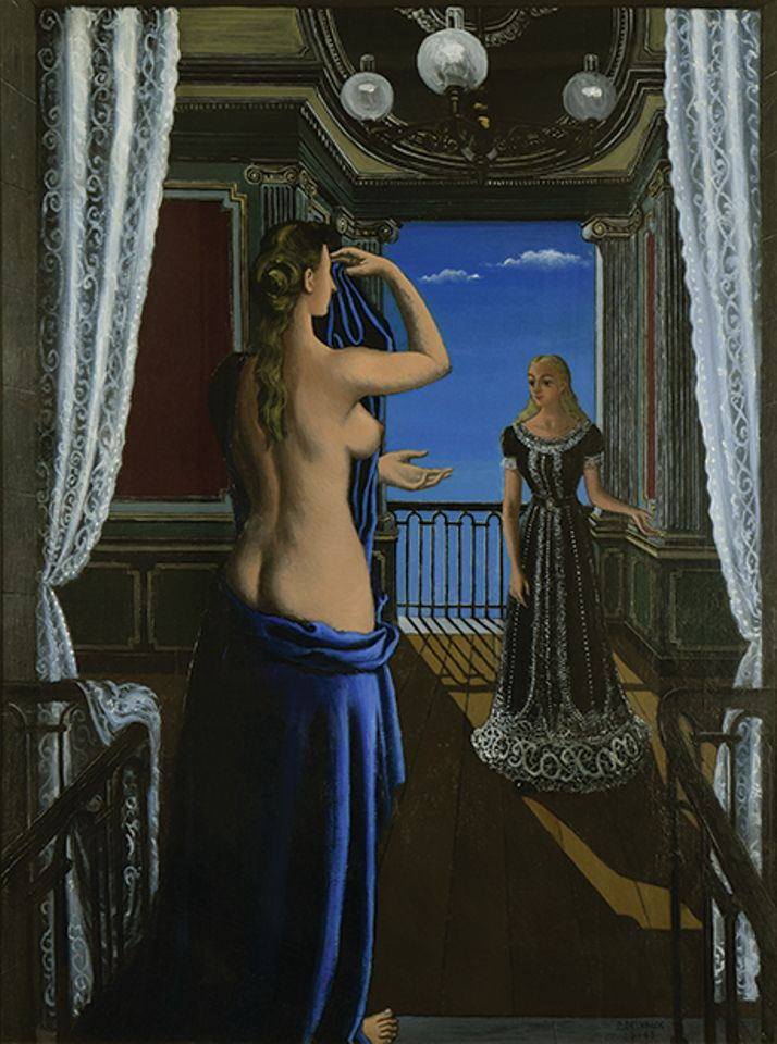 Paul Delvaux's Le Balcon (1948). Stern Pissarro,  Brafa Art Fair,  26 January-3 February. €3M: Though he rejected any formal association with the Surrealists, the group's influence on Paul Delvaux—especially that of his fellow Belgian René Magritte—is undeniable. Bought by the present owner from a New York collector in 1970, this work focuses on two typically Delvauxian women, one nude, the other seemingly hypnotised. Somewhat creepy, his works are not to everyone's tastes but find a strong following with the Belgian crowd at Brafa. Often focusing on hallucinatory reimaginings of Classical Greek mythology, Delvaux's use of erotic motifs has led his work to be described as a visual representation of Freudian dreams.