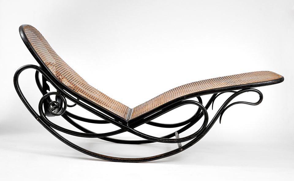 "Thonet Brothers, Rocking Sofa (before 1879) Thonet: Collection Thillmann, Van Ham, Cologne, 22 January.  ESTIMATE: €6,800-€7,500 This curved rocking chair is a typical example of the ""bentwood technique"" pioneered by the German-Austrian designer Michael Thonet in the 19th century, whereby wood was manipulated into sinuous shapes using hot steam. This enabled the creation of elegant, lightweight furniture–a complete departure from the heavy, carved designs that had proliferated. Such a new aesthetic quickly gained a following among fashionable Austrians, including Prince Metternich, who invited Thonet to display his works to the Imperial family in 1842. Credited as being the first chair capable of being industrially produced, these pieces quickly became a part of Vienna's burgeoning coffeehouse culture. Their lean aesthetic appeal was favoured by architects such as Le Corbusier and Otto Wagner."