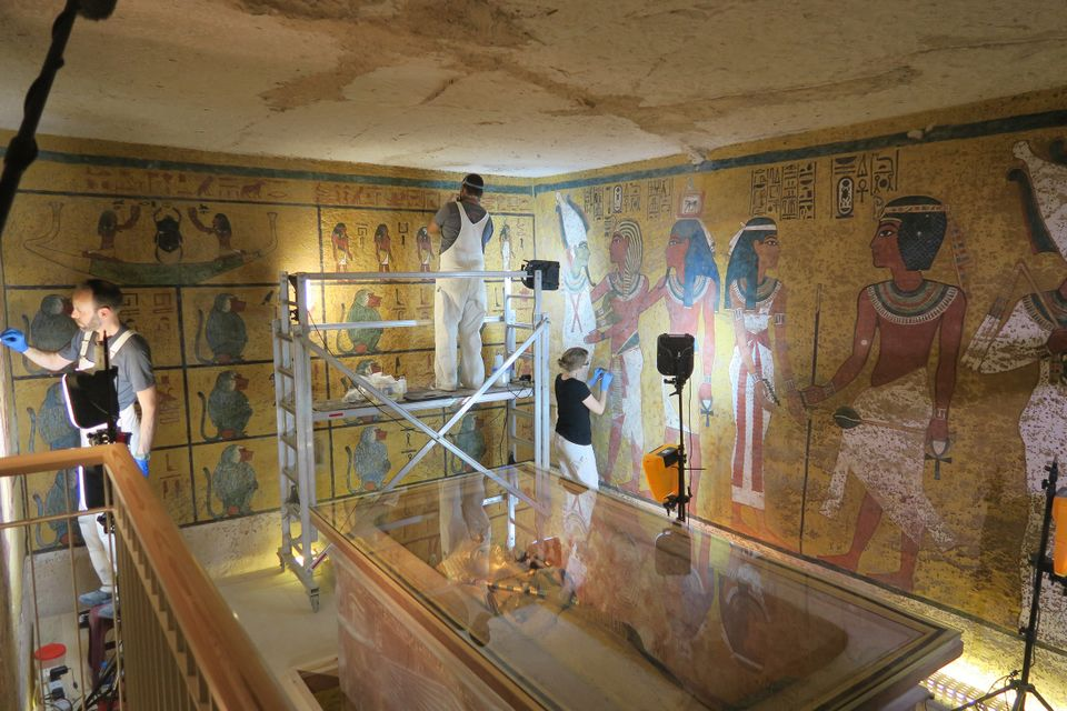 Conservation work being conducted in the burial chamber of the Tomb of King Tutankhamen