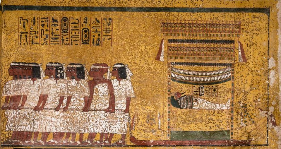 Painting on east wall of the burial chamber in the Tomb of King Tutankhamen