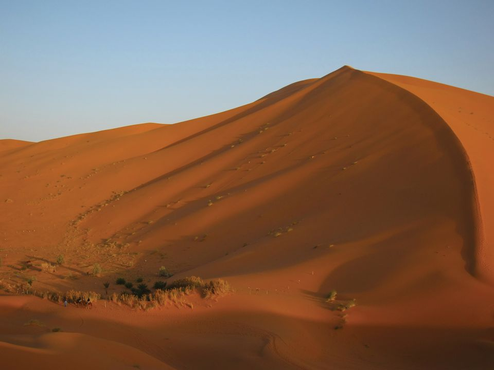 The Erg Chebbi dunes in Morocco, north of where the Sahara Desert officially begins