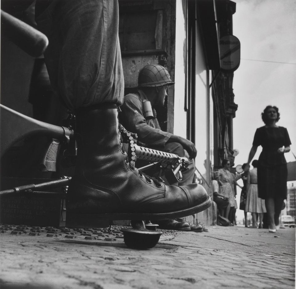Don McCullin's 1961 photograph Near Checkpoint Charlie, Berlin, taken at the height of the Cold War