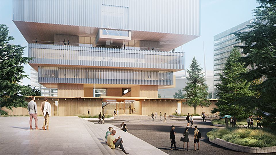 New designs for the striking edifice made of wood and glass include public plazas, long terraces, sunken gardens and a theatre in addition to the extensive gallery space