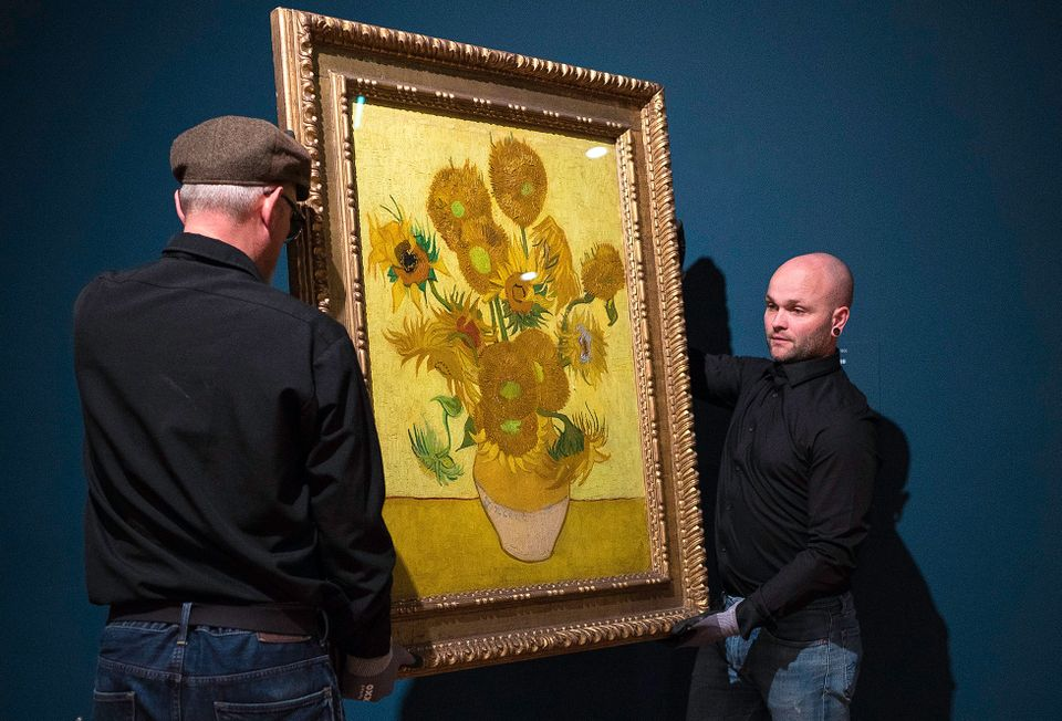 Van Gogh's Sunflowers (January 1889) being taken to the conservation studio, 11 January 2019