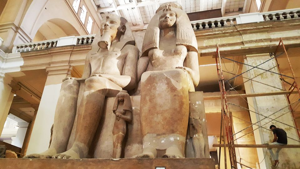 Ancient statues inside the Egyptian Museum in Cairo