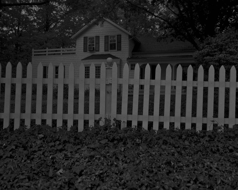 Dawoud Bey. Untitled #1 (Picket Fence and Farmhouse), from the series Night Coming Tenderly, Black, 2017.