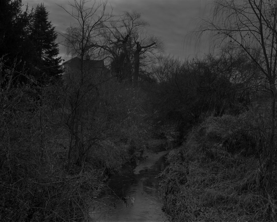 Dawoud Bey, Untitled #18 (Creek and House), from the series Night Coming Tenderly, Black (2017)