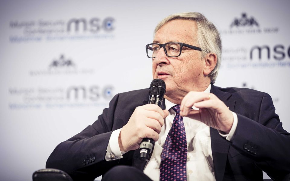 Jean-Claude Juncker speaking at the Munich Security Conference in 2018
