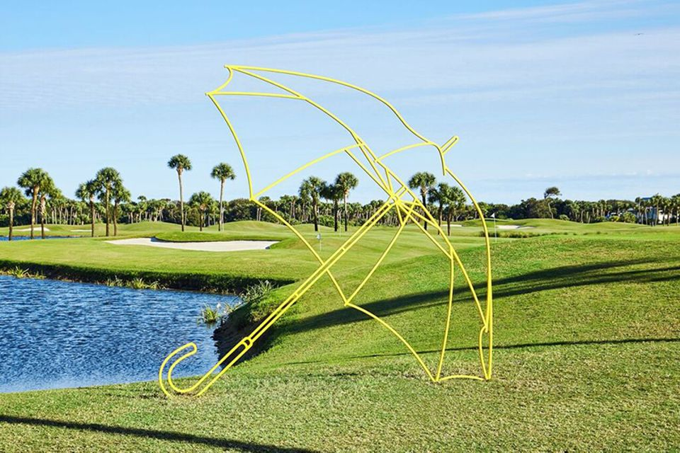 Michael Craig-Martin, Umbrella (yellow) (2011), installed at on the grounds of Windsor, Florida