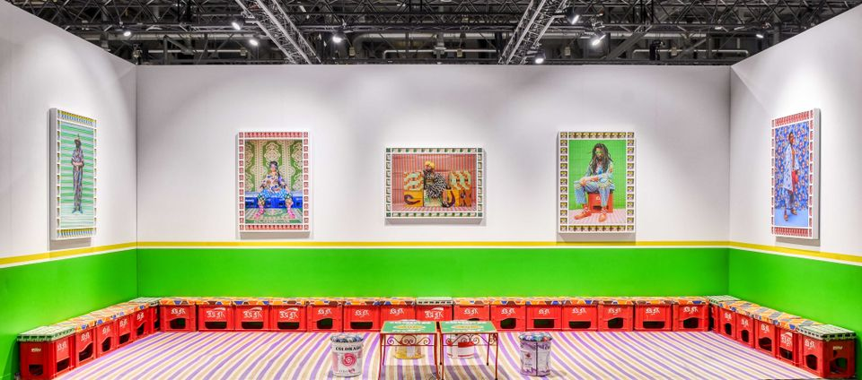 The Moroccan artist Hassan Hajjaj's work with Taymour Grahne at Artgenève. Two works, Alo Wala and Marc Hare, have been sold to an American museum
