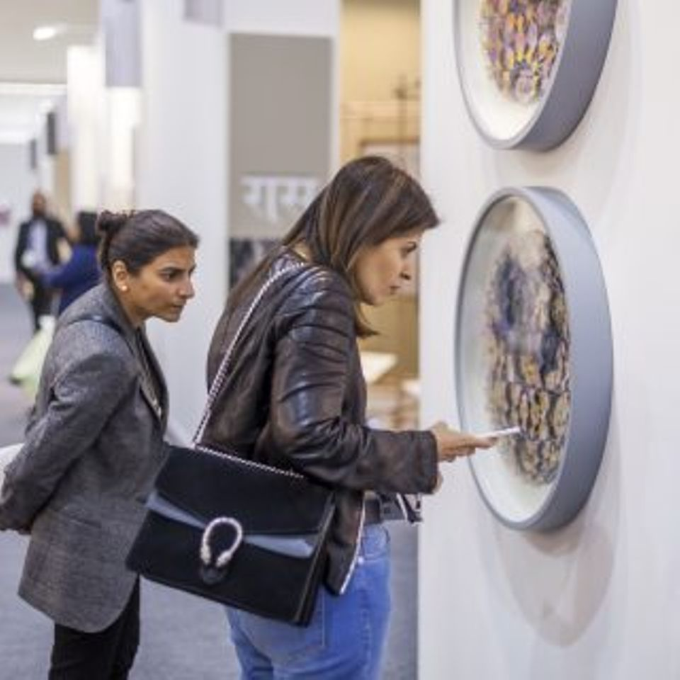 Visitors to the 11th edition of the India Art Fair