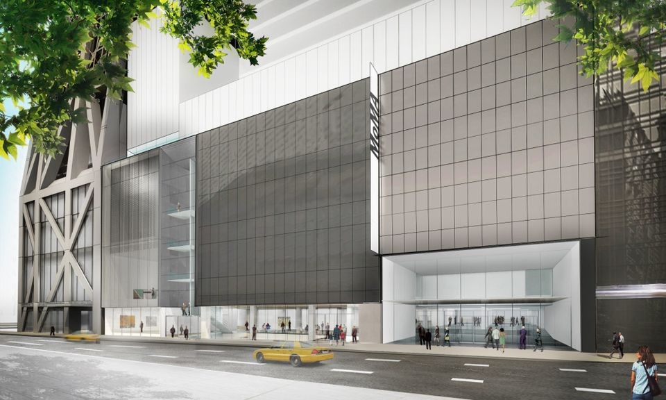 A rendering of the new entrance to the reconfigured Museum of Modern Art, which will open 21 October