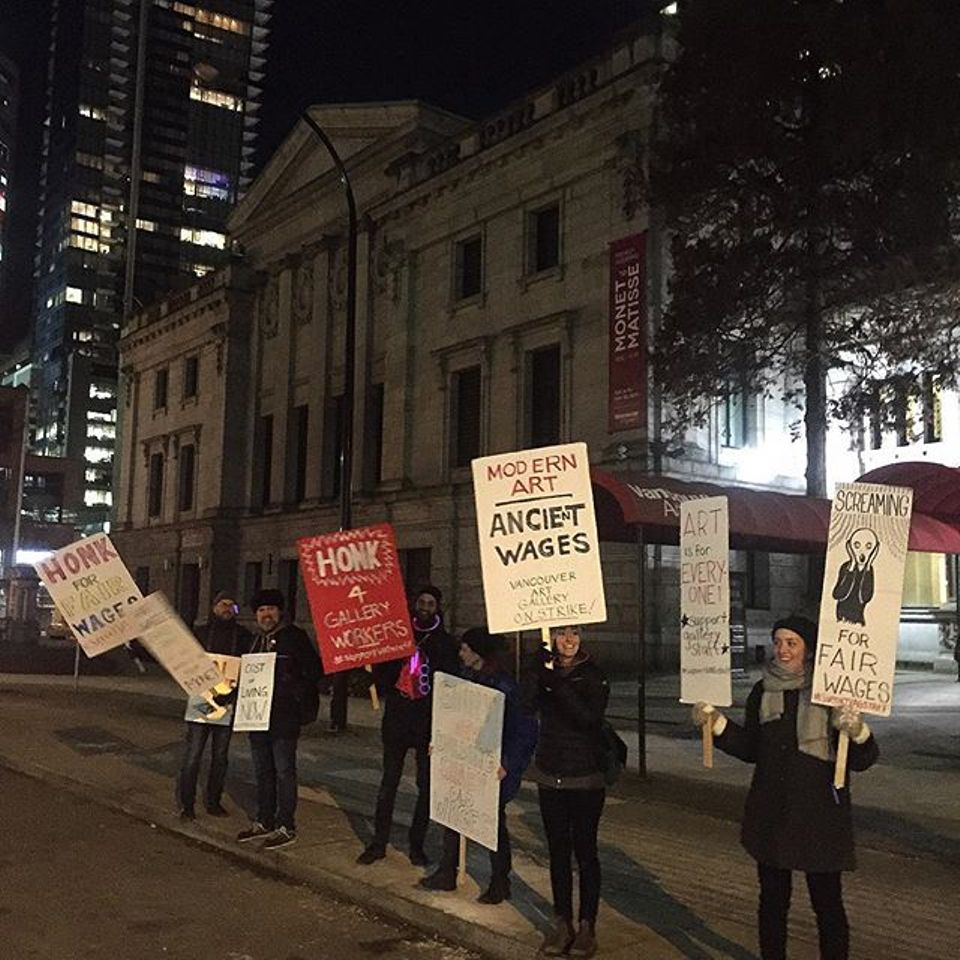 Striking Vancouver Art Gallery staff outside of the museum