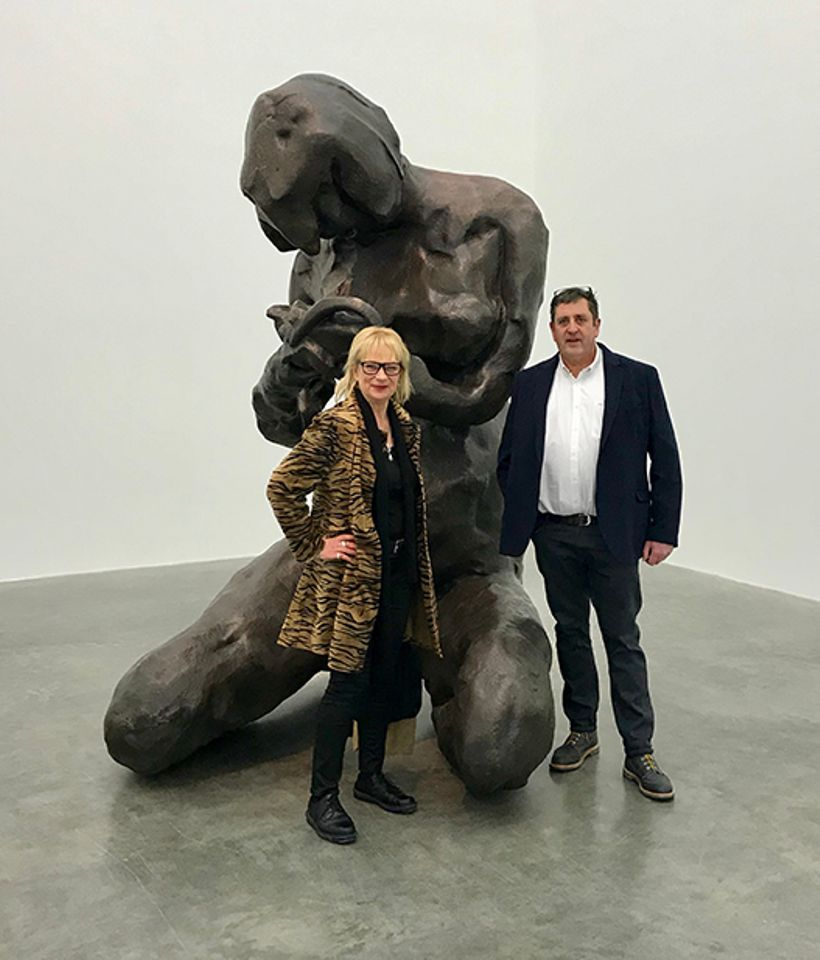 Louisa Buck and AB Fine Art Foundry manager Jerry Hughes in front of Tracey Emin's The Mother (2017)
