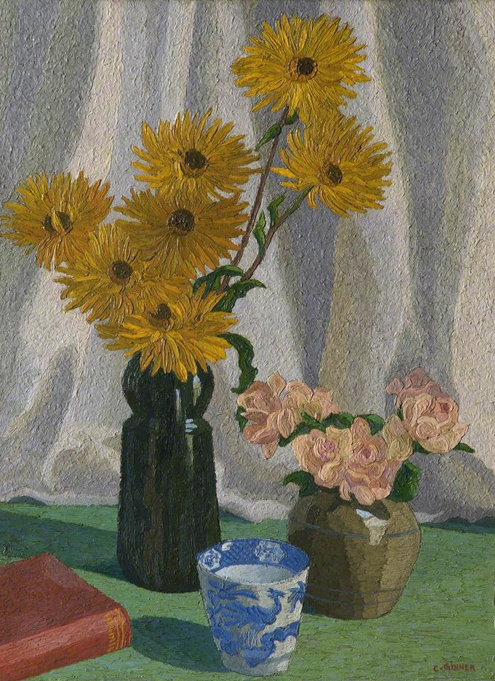 Charles Ginner, Dwarf Sunflowers, about 1929, Salford Museum & Art Gallery