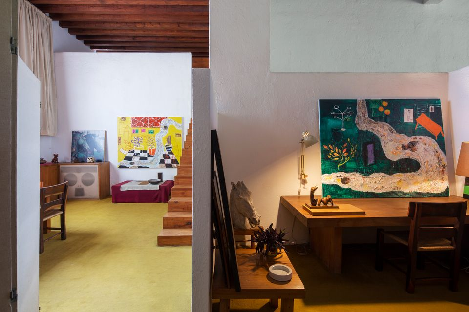 "Gideon Appah, A River with a Room (Nsuteen Buom), 2017 and A River with a Room II (Nsuteen Buom II), 2017, ""Fraccionar"" installation view at Casa Luis Barragán (Library), Mexico City, 2019."