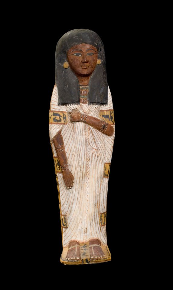 """Coffin of a child, Tairtsekher, daughter of Irtnefret (around 1292BC-1200BC): Although modern Egyptology is based on the study of such elite tombs, the new gallery aims to """"make Egypt more relatable"""" and also displays """"objects that tell us about other members of society"""", Maitland says. One vitrine looks at the craftsmen of Deir el-Medina, who for almost 500 years built the tombs in the Valley of the Kings and applied that skill to their own burials as well. This early 19th dynasty coffin in plastered and painted wood was """"very rare and elaborate for a child"""", Maitland says."""
