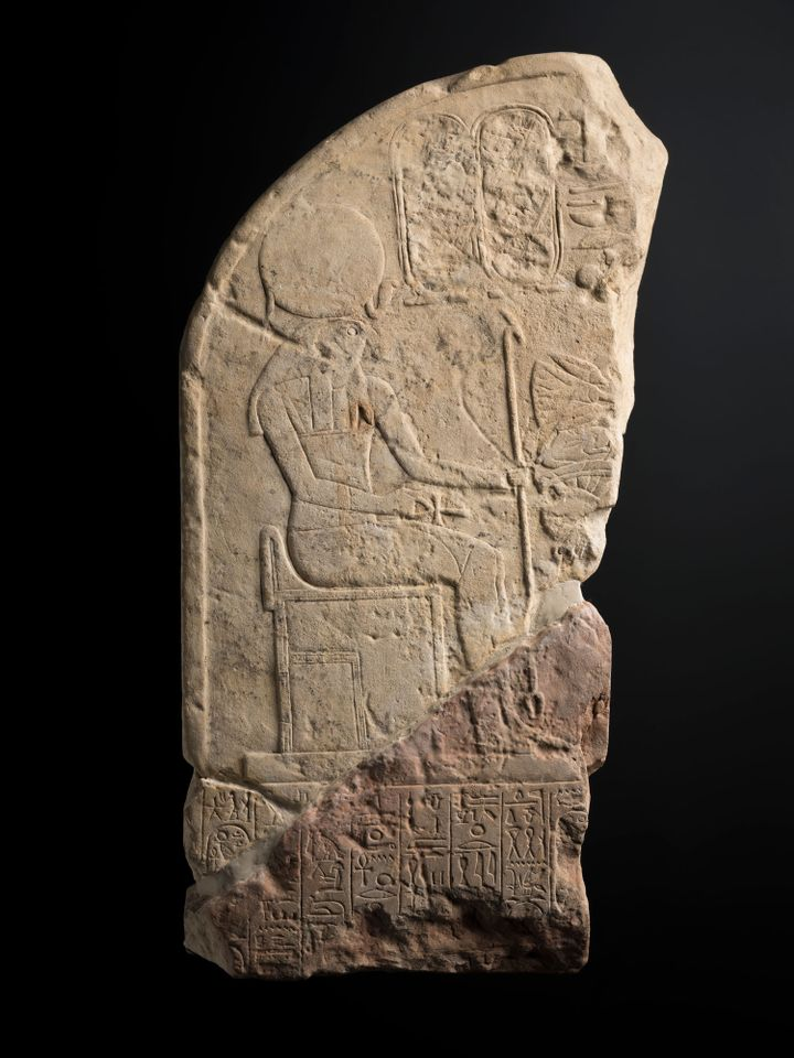 """Stela fragment with depiction of Akhenaten (around 1356BC-1292BC): Nefertiti's husband Akhenaten was an """"extremely controversial"""" pharaoh who sought to transform ancient Egyptian religion in the 18th dynasty. He abandoned the old gods to worship Aten, the disc of the sun (rather than the falcon-headed sun god Ra). """"After his reign, the Egyptians destroyed all the monuments he built and tried to erase his name,"""" Maitland says. """"So the stela that we have was excavated in a number of fragments and the figure of Akhenaten himself doesn't appear to have survived."""" His name was """"purposefully chiselled out of the monument"""" and the """"reddish"""" part of the stone indicates it was also burned."""