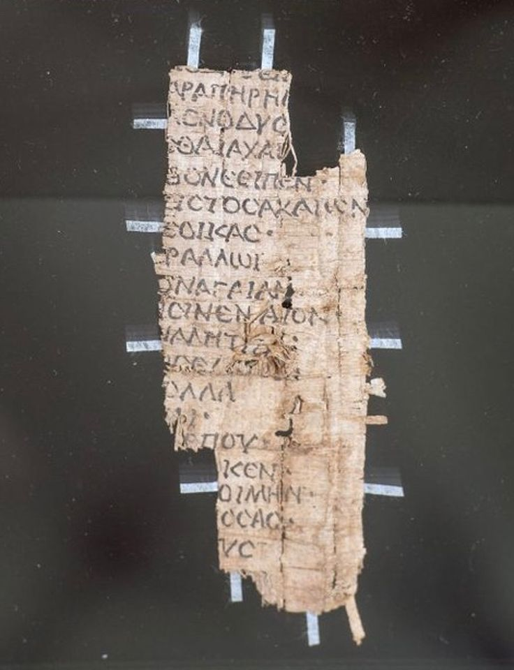 """A schoolboy's copy of Homer's Odyssey (around 30BC-AD395): Another display case focuses on a Roman town called Oxyrhynchus, """"home to one of the richest discoveries of ancient Egyptian papyri"""". Maitland singles out this fragment of a trainee scribe's copy of Homer's Odyssey. The text comes from """"the part where Odysseus is spinning the tale of how he was a pirate on the Nile, so of course it would have been of interest to a Roman schoolboy in Egypt"""", she says."""