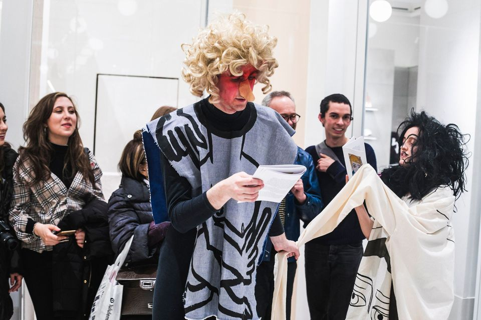 Medieval mummery meets contemporary camp in Paul Kindersley's colourful performance at Selfridges
