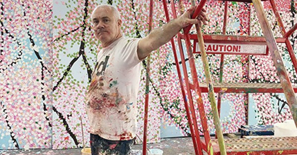exclusive  damien hirst channels jackson pollock for