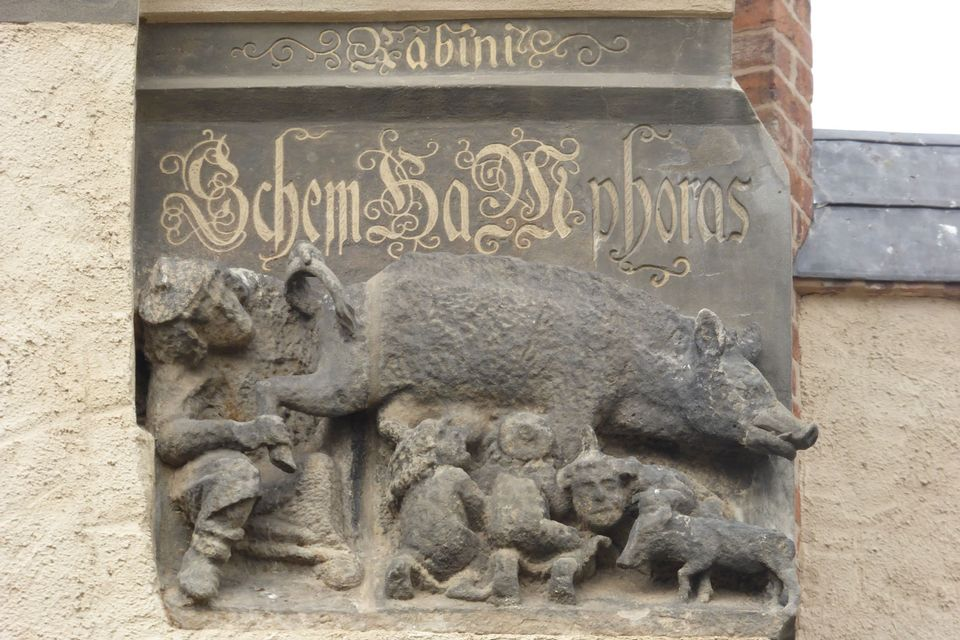 The so-called Judensau relief on the façade of the Wittenberg church where Martin Luther preached