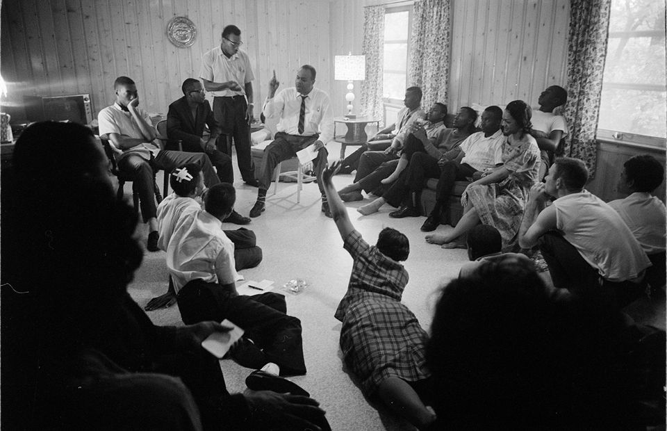 Freedom Riders plan their next step at the Dr. Richard Harris House in Montgomery