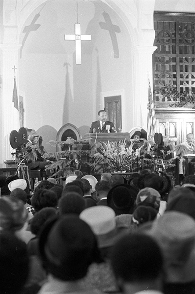 The Reverend Dr. Martin Luther King Jr. in the pulpit at Dexter Avenue Baptist Church in Montgomery