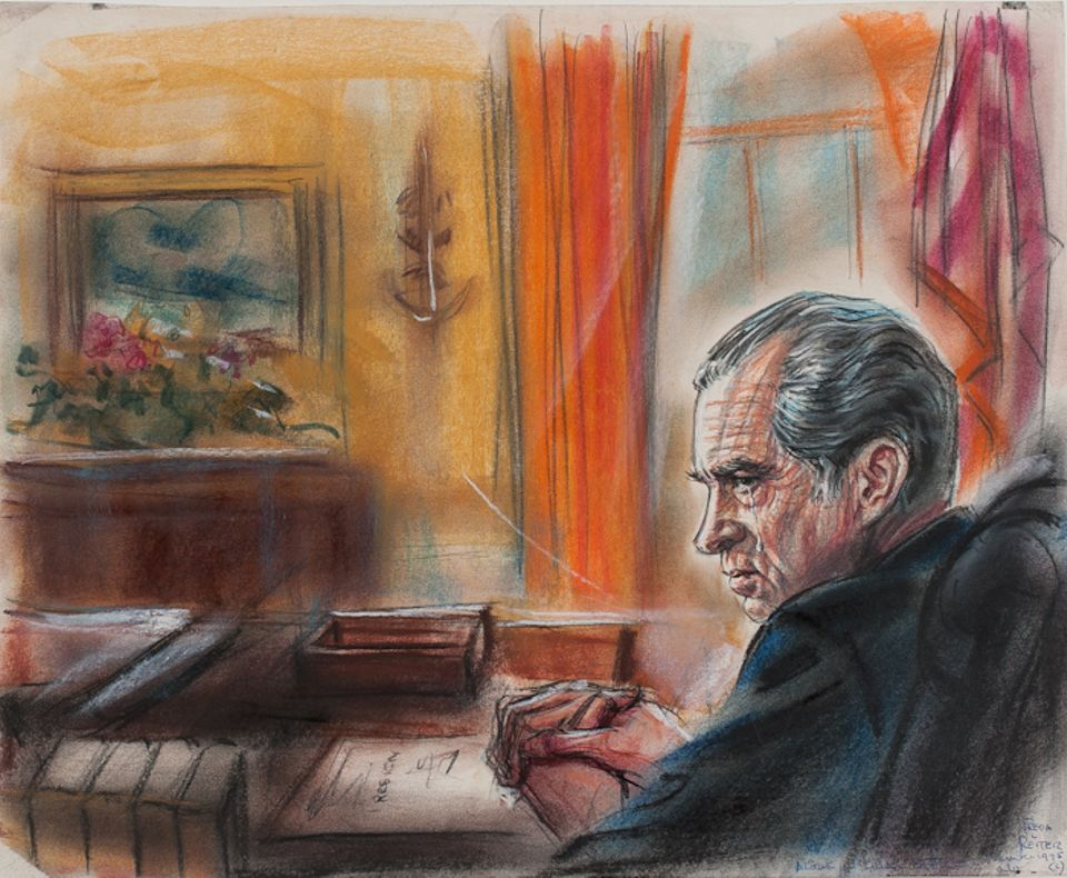 As Trump impeachment debates roll on, see historic courtroom sketches from Watergate trial